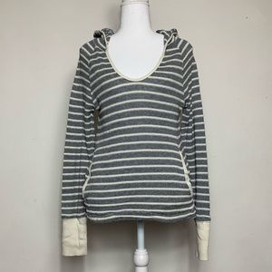 Roxy Knit Scoop Neck Striped Hoodie Size Small